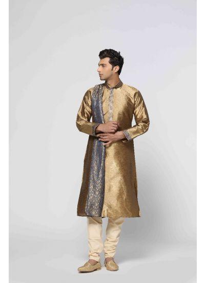 Traditional Gold Kurta Pyjama Set