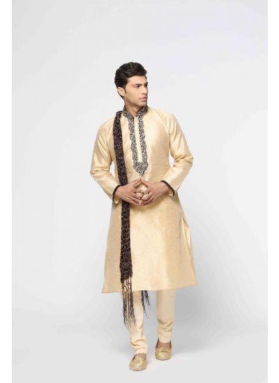 Embellished Silk Kurta Pyjama Set
