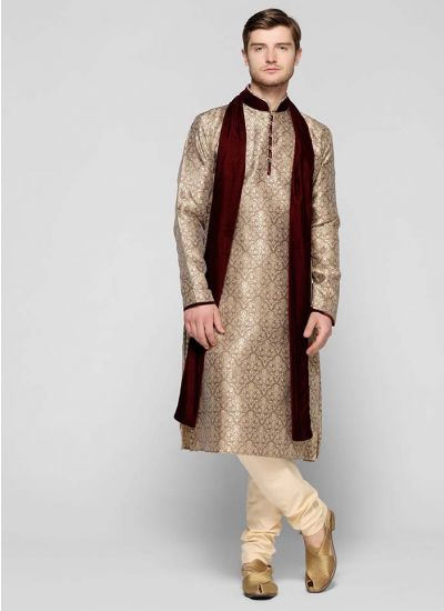Self Pattern Brocade Kurta Set