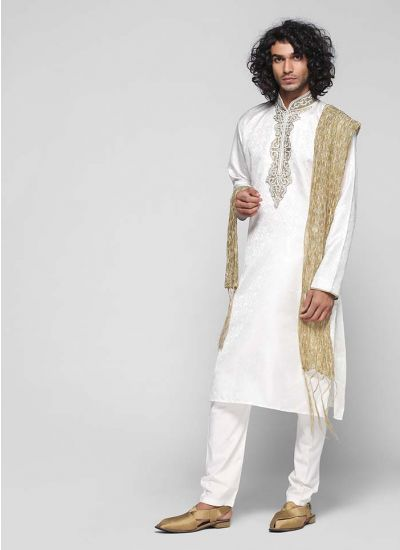 Self-jacquard Embellished Kurta Set