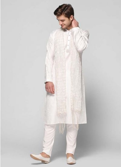 Jacquard Embellished Band Kurta Set