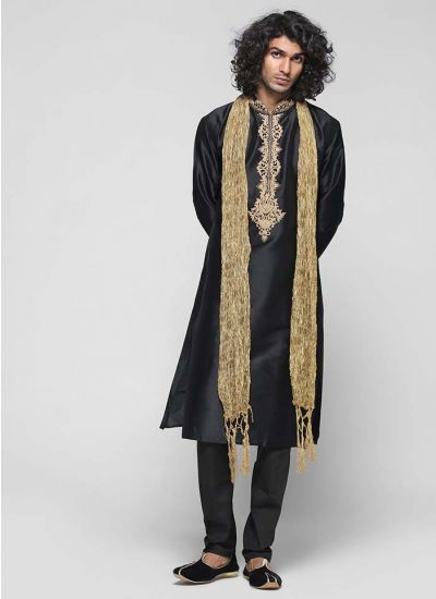 Embroidered Silk Kurta Set
