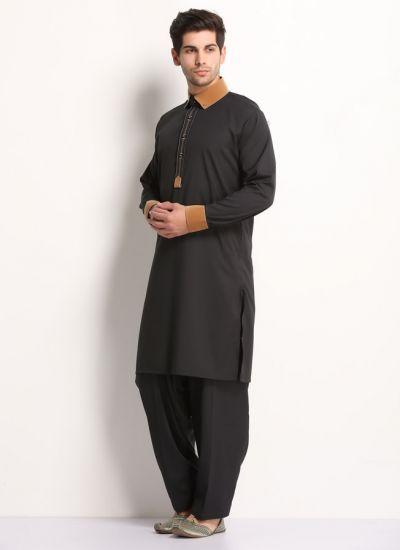 Black & Tan Suede Kurta Salwar