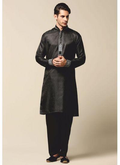 Black Jacquard Threaded Kurta Salwar