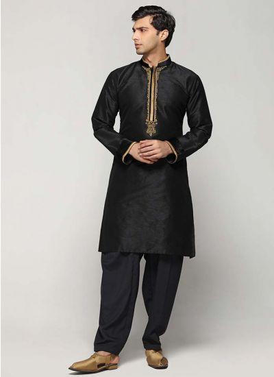 Black Silk Embellished Kurta Set