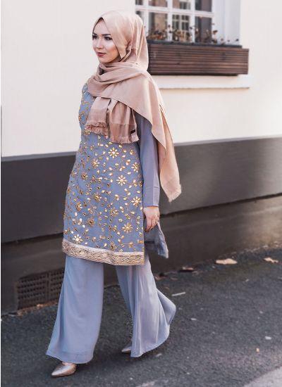 Gota-Patti Topaz Dress