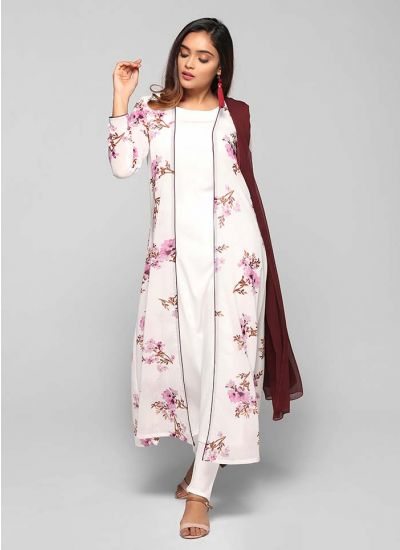 Petite Scattered Floral Print Open Jacket Suit