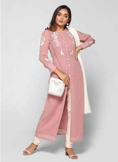 Petite Crew Neck Embroidered Suit