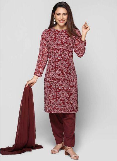 Petite Wine Salwar Suit