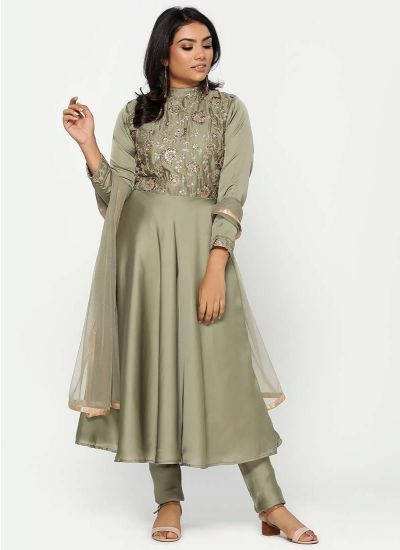 Moss Green Satin Zari Dress