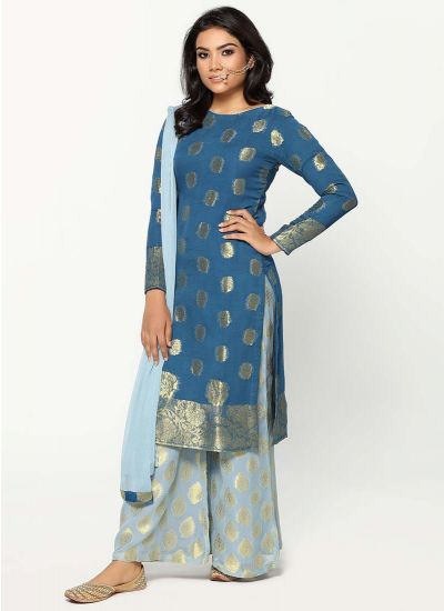 Sapphire Tonal Jacquard Dress
