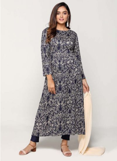 Petite Navy & Fawn Vinatge Print Dress
