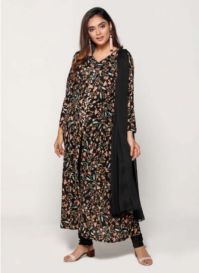Petite Black Floral Labyrinthine Long Dress