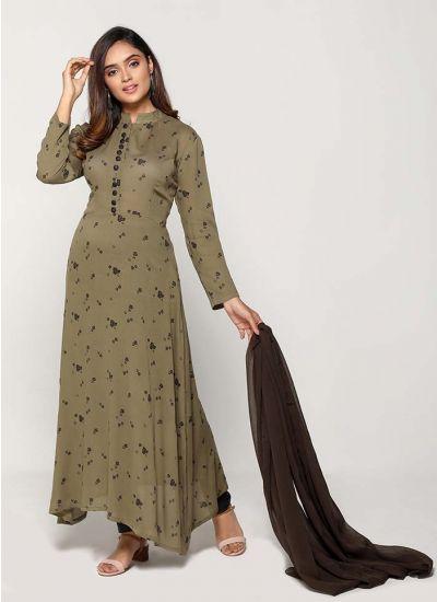Petite Khaki Ditsy Floret Suit