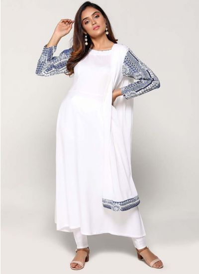 Petite White Geometric Sleeve Flowy Dress