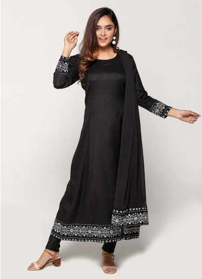Petite Black Floweret Hem Churidar Suit