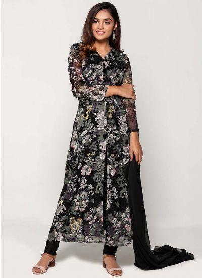 Petite Nightfall Floweret Long Churidar Suit