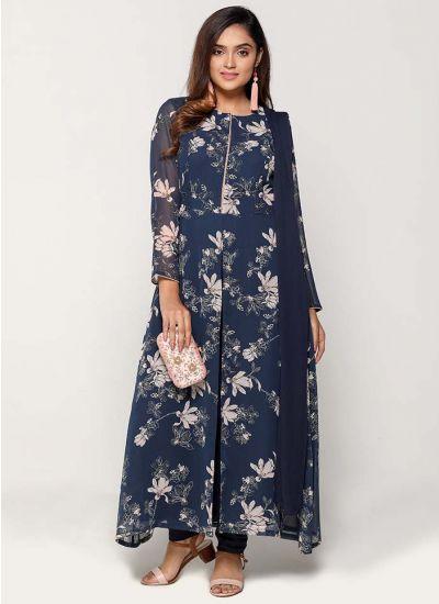 Petite Ink Lily Print Flowy Dress