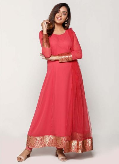 Petite Pink Jacquard Bordered Long Suit