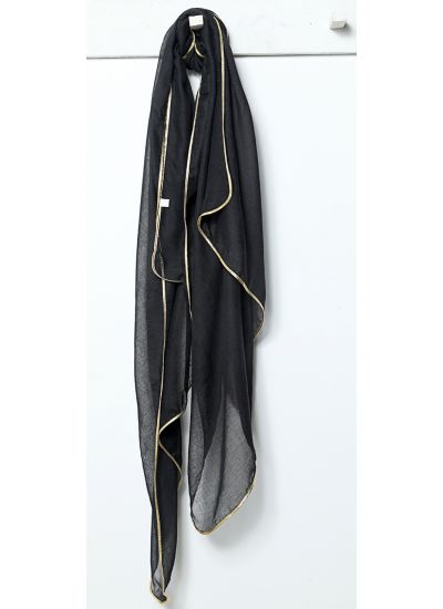 Black Gold Bordered Scarf