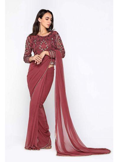 Rose Pink Ornamented Saree Set