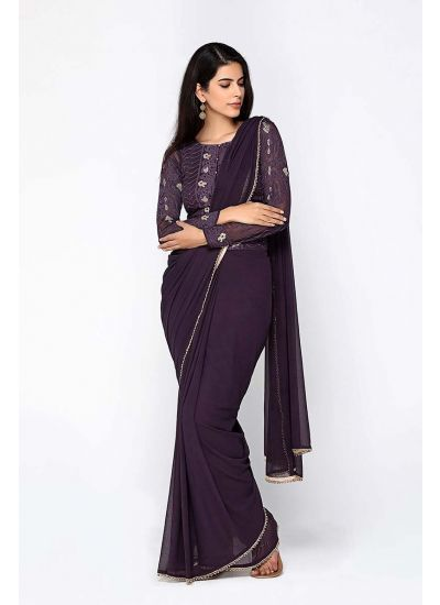 Purple Chikankari Zari Embellished Saree