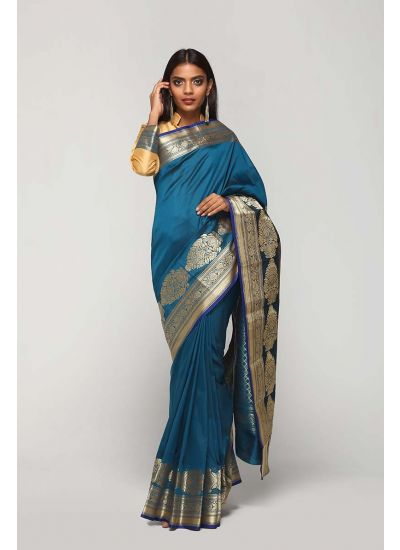Peacock Baroque Silk Bordered Saree