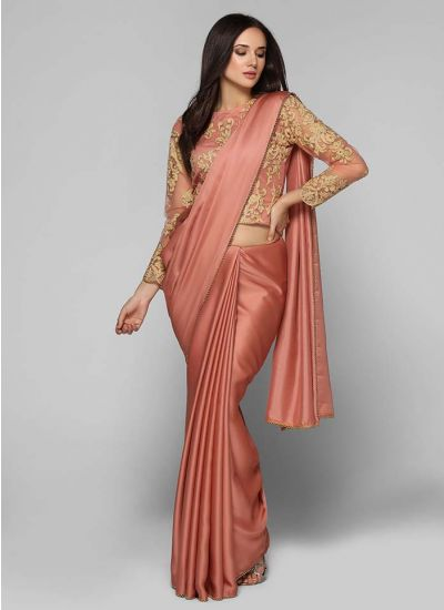 Pink Gold Embroidered Saree