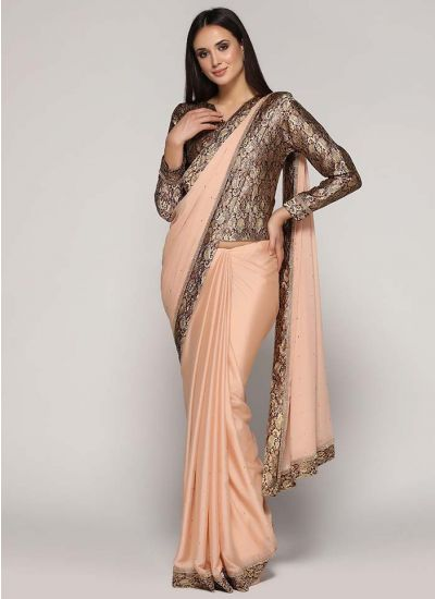 Brocade Zircon Embellished Saree