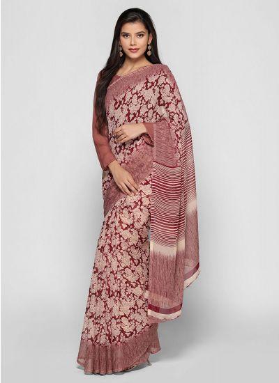 Wine Rose Print Striped Saree