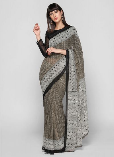 Black & Fawn Aztec Border Saree