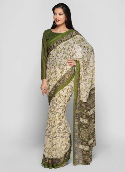Beige & Green Fliage Print Saree