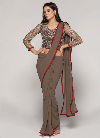 Embellished Asymmetric Blouse Saree