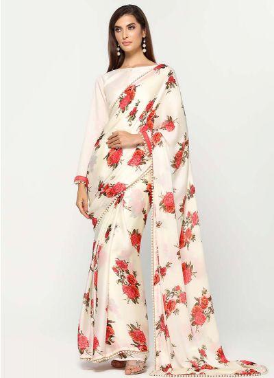 Vivid Rose Satin Saree