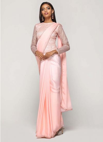 Peach Sparkling Sequin Satin Saree
