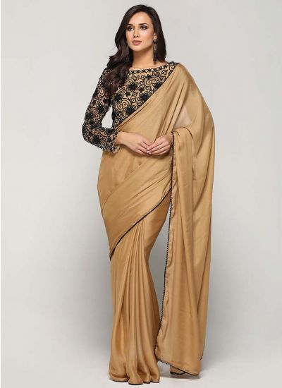 Gold & Black Satin Embellished Saree