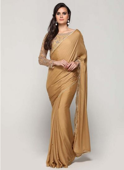 Gold Zari Embroidered Satin Saree