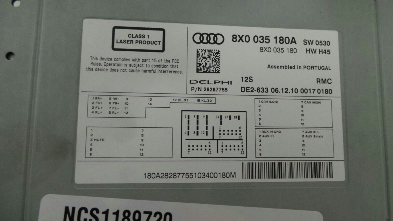 Audi 8x0 035 180 a new rmc multimedia head unit componant protection