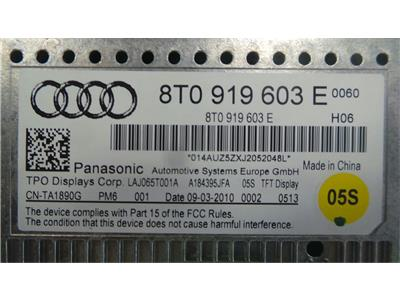 Audi 8T0 919 603 E Audio display  May need component  protection removing