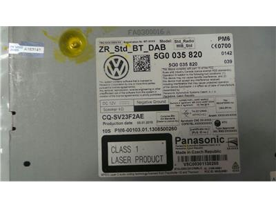 VOLKSWAGEN 5G0 035 820 May require coding 1 SD SLOT Single cd ZR_STD_BT_DAB
