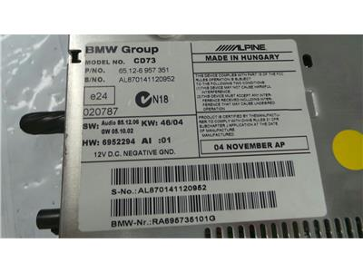BMW 65.12-6 957 351 BMW PROFESSIONAL  May require coding