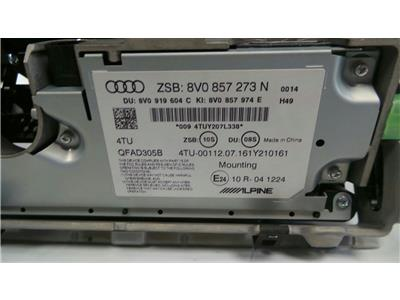 Audi Audio Display A3 12-16 Untested May Need Coding  8V0 857 273 N
