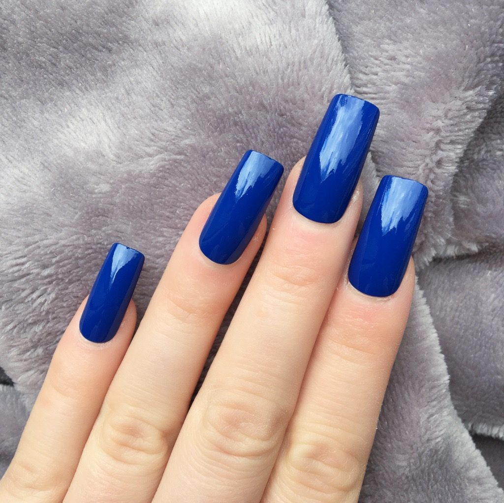 Electric Blue Gloss Long Square – Doobys Nails