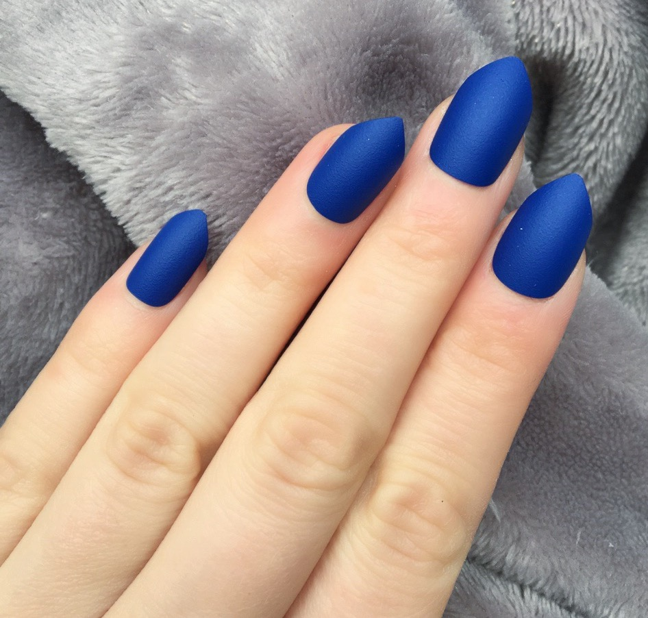 Electric Blue Matte Short Stiletto – Doobys Nails
