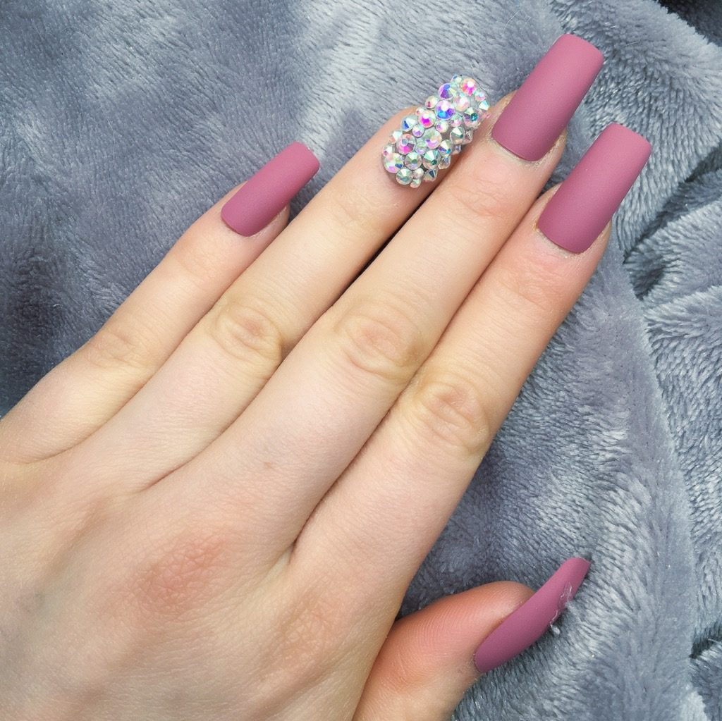 Wild Berry Matte RF Diamante Long Square – Doobys Nails