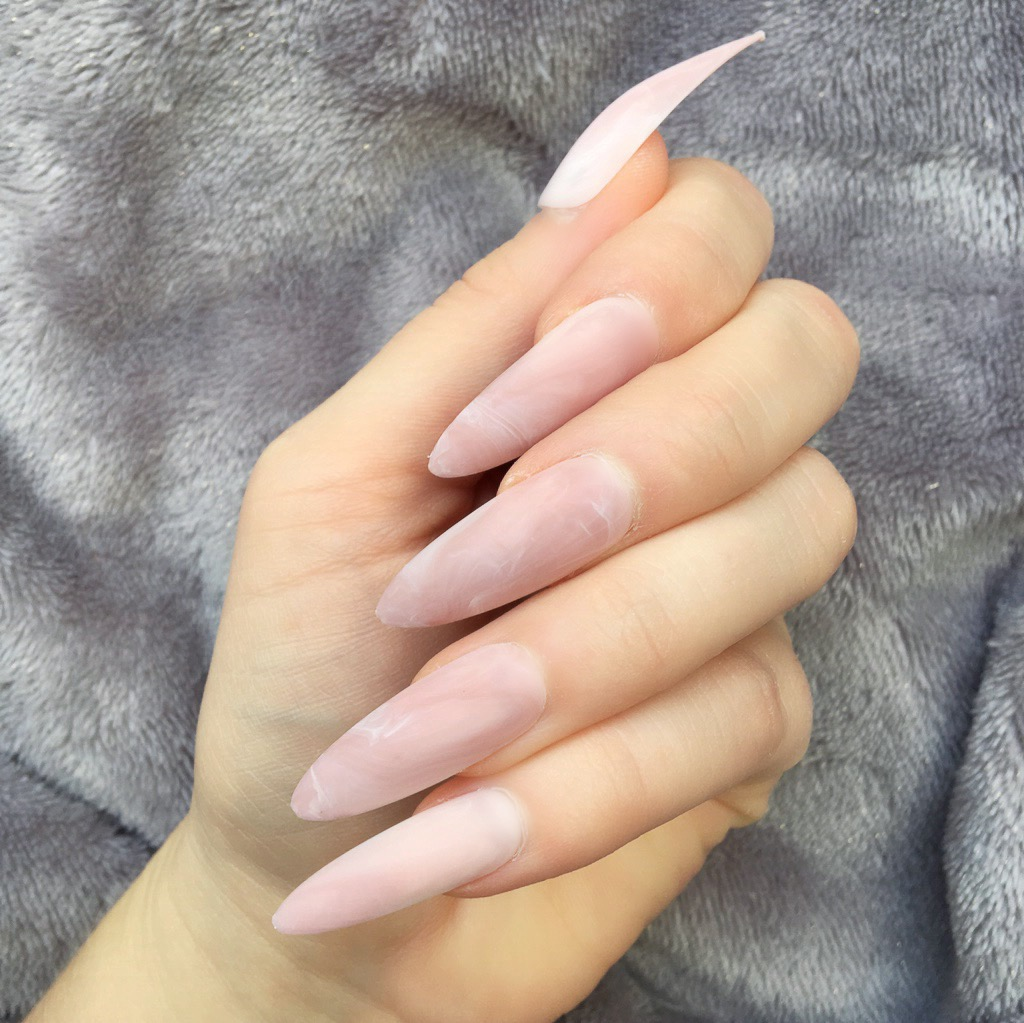 Rts Pink Marble Matte Long Stiletto Doobys Nails