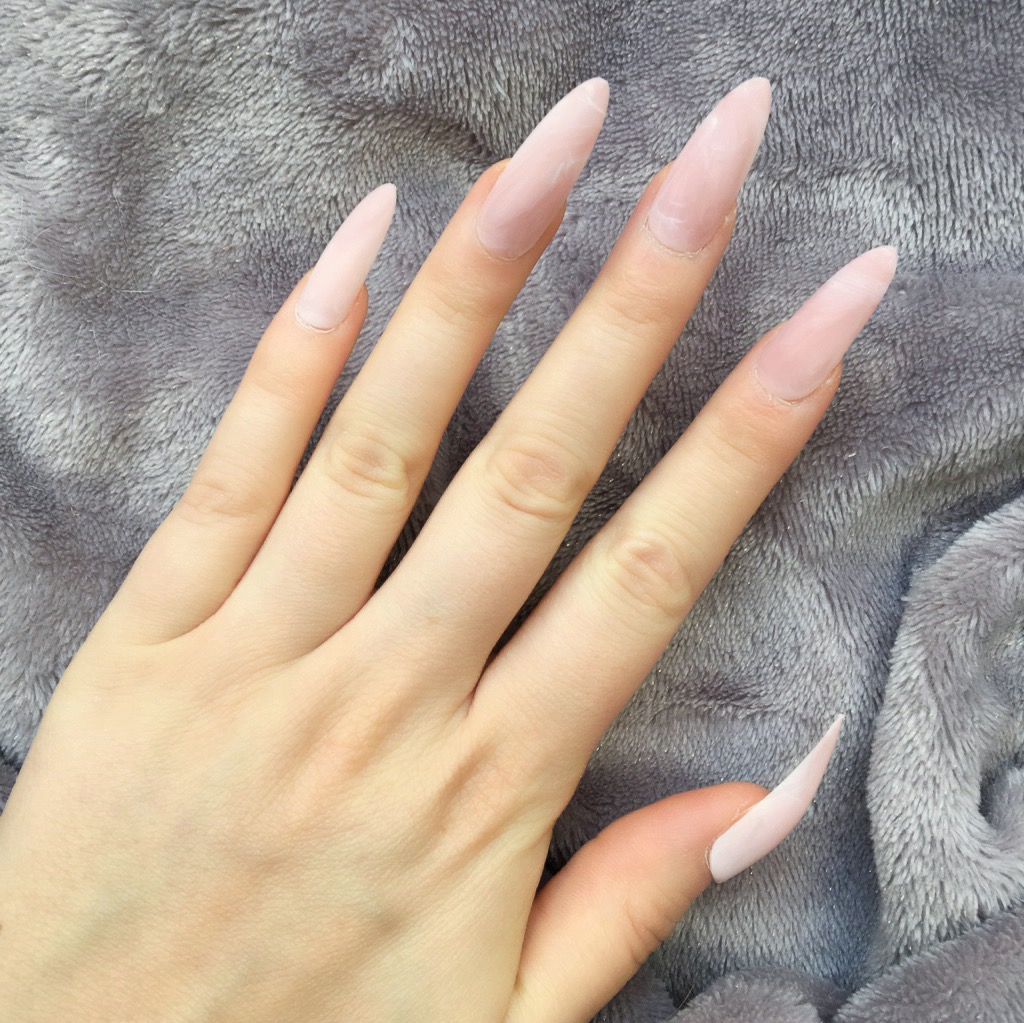 Pink Marble Matte Long Stiletto – Doobys Nails