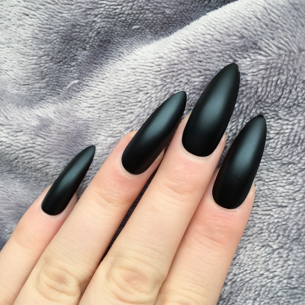 Black Matte Long Stiletto – Doobys Nails
