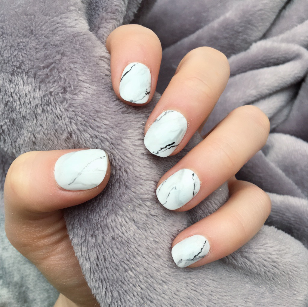 Short Grey And White Marble Nails Nail And Manicure Trends