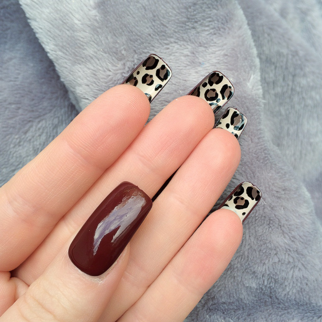 Deep Red Gloss Leopard Bottom Long Square – Doobys Nails
